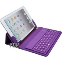 """FOM Ball Grain Wireless Bluetooth keyboard PU Leather Case with Stand for iPad mini 7.9"""" 7.9 inch - Purple Ship from USA"""