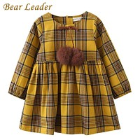 Girls Dress Spring Girls Clothes Printing Bow Design Baby Yellow Girls Dress
