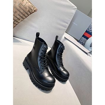 BALENCIAGA  Trending Women's Black Leather Side Zip Lace-up Ankle Boots Shoes High Boots