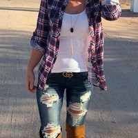 Penny Plaid Flannel Top: Navy/Red/White