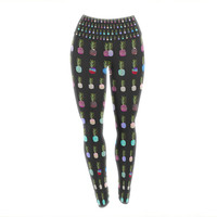 "Monika Strigel ""Pineapple People Black"" Black Multicolor Yoga Leggings"