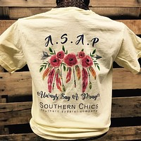 Southern Chics Comfort Colors Always Say a Prayer Roses Feathers Girlie Bright T Shirt