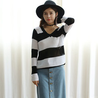 Long Sleeve Stripe Knitted Blouse