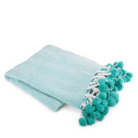 Herringbone Pom Pom Throw- Teal