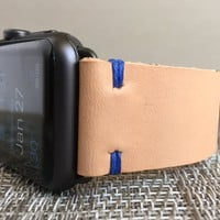 Apple Watch Band   The Hudson Strap for Apple Watch   Natural Hermann Oak Leather Strap w/ Royal Blue Thread - Handmade