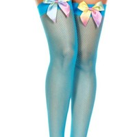 Turquoise (Neon) Rainbow Bow Diamond Fishnet Spandex Thigh High