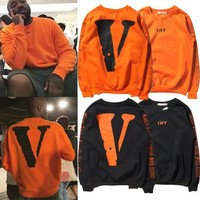 Vlone x off white Men and women round neck long sleeve sweater