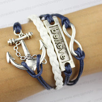 Infinity, believe that the anchor charm bracelet, wish bracelets, gifts