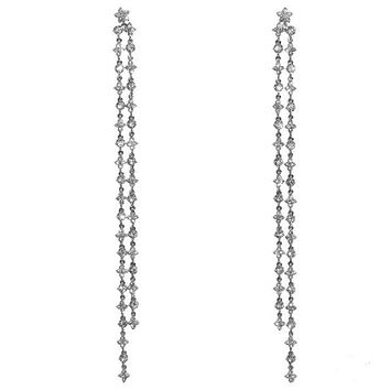 Mysta CZ Linear Chandelier Earrings | 200mm