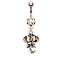 Elephant Dangle Belly Button Ring Double Jeweled 316L Surgical Steel14g Navel Ring (Rose Gold Tone)
