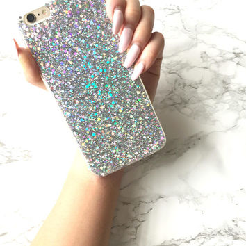 Holographic PLATINUM Sparkle Bling Glitter Case iPhone X 8 7 5 6s 6 Plus Silicone Case Holo Reflective Iridescent Shiny Sparkle Gift for Her