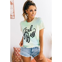 """Girl Boss"" Cursive Graphic Tee (Mint Wash)"