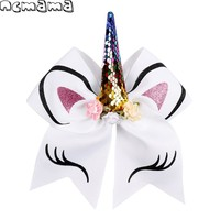7 Inch Cartoon Sequin Cheer Bows with Elastic Hair Band Girls Glitter Ears Hair Bows Kids Floral Bowknot Hair Accessories