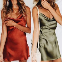 Solid Color Sexy Backless Sling Sleeveless Slim Dress