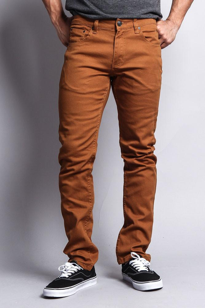 Image of Men's Skinny Fit Colored Jeans (Dark Wheat)