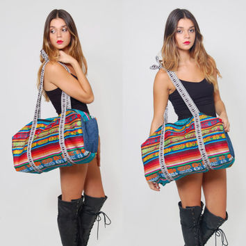 Vintage 90s ETHNIC Duffle Bag Oversized Rainbow SOUTHWESTERN Striped Weekender Hippie Boho Overnight  Bag Festival Tote Bag