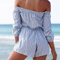 Off-Shoulder Drawstring Waist Vertical Stripe Romper