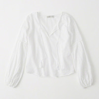 Womens Long Sleeve Embroidered Top | Womens Tops | Abercrombie.com