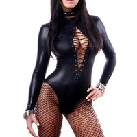 Womens Faux Leather Body Suit