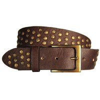 Coperto Curved Handmade Leather Belt - Walnut Brown with Antique Brass