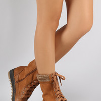 Qupid Sweater Cuff Snow Lace Up Boots