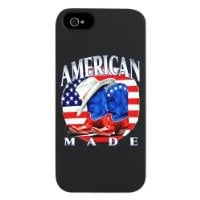 iPhone 5 or 5S Case Black American Made Country Cowboy Boots and Hat