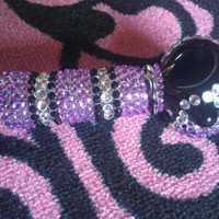 LARGE purple, silver, and black glass hand pipe.