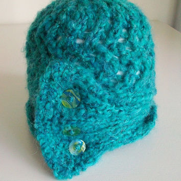 Vintage Style Teal Cloche Green Blue Knitted Lace Hat Art Deco 1920s Romantic Boho Style