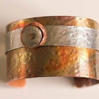 2 tones Hammered Mixed Metal Cuff Bracelet | zoomgraphik - Jewelry on ArtFire