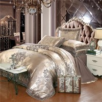 Cool 4/6 pcs Coffee Jacquard Bedding Sets King Queen Size Embroidered Bedclothes Bed Set Cotton Lace Duvet Cover Cushion covers SheetAT_93_12
