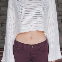 Cream Round Neck IKnit Crop Sweater
