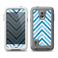 The Vintage Blue Striped Chevron Pattern V4 Samsung Galaxy S5 LifeProof Fre Case Skin Set