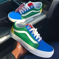 Alwayn Vans Popular Women Men Casual Canvas Old School Flats Sneakers Sport Shoes green blue red