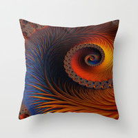 Glowing Spiral Throw Pillow by Amanda Moore - Fractal Insanity