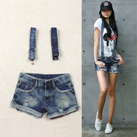 2013 Summer Fashion Womens Overalls Braces Pants Denim Jeans Shorts Hot Pants # L0341056 = 5708515073
