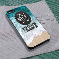 5sos on Sand and Water For - iPhone 4 4S iPhone 5 5S 5C and Samsung Galaxy S3 S4 S5 Case
