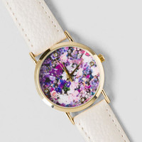 Floral Night White Watch