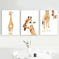 Watercolor Kawaii Giraffe Wall Art Canvas Painting Nordic Posters And Prints Animals Pop Art Wall Pictures Kids Room Home Decor