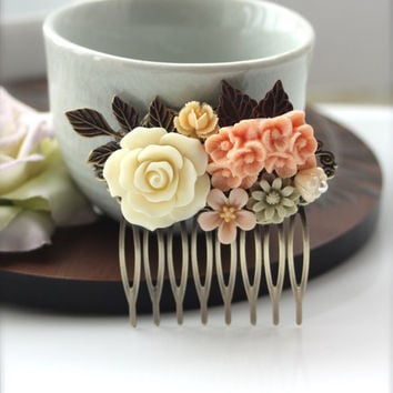 A Pastel, Ivory Rose, Peach Flower, Brass Leaf, Vintage Style Collage Hair Comb - Bride, Maid Of Honor, Bridesmaids Hair comb,  Wedding.