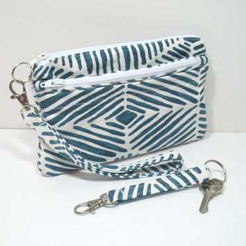 Wristlet Wallet, Turquoise Phone Clutch, Matching key Chain, Cell Phone Wallet, Card Pockets, Zipper Pockets, Clutch for phone, Clutch Bag