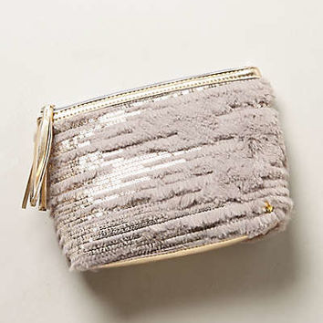 Geneva Fur-Laced Cosmetic Pouch