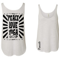 Peace Love and Yoga SOFT slouchy side slit comfy tanktop