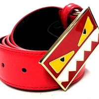 Fendi Razor Monster Belt Men 34 Red Leather Gold Buckle RM
