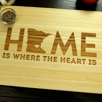 Personalized Engraved Wood Cutting Board, Personalized Wedding Gift, Home Is Where The Heart Is, Approx 12 x 16, Anniversary Gift