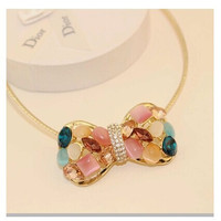 Bowknot pendant collar lovely South Korea necklace chiker necklace  clothing chain necklace