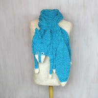 Blue fox — handmade soft scarf, knit knitted wrap, VERY LONG animal scarf, blue fox, fox scarf, blue turquoise white, shawl
