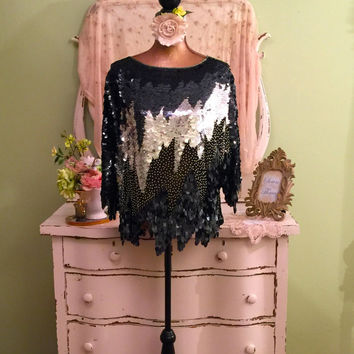 Silver Sequin Top, Ornate Beaded Blouse, Unique Tunic, L/XL, Beaded Trophy Top, Silk Party Top, Oleg Cassini Black Mirrored Sequined Blouse
