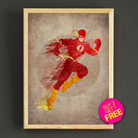 Justice League Flash Watercolor Art Print Justice League Superhero Poster House Wear Wall Decor Gift Linen Print - Buy 2 Get FREE - 42s2g