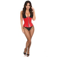 Top Drawer Red Patent PVC Steel Boned Under Bust Corset