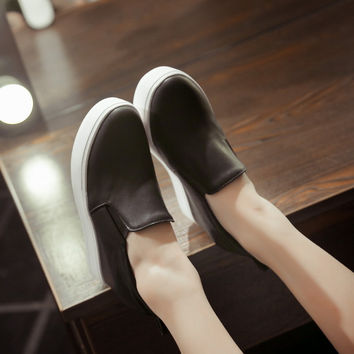 Round Toe Loafers Platform Shoes Wedge Heels 4841
